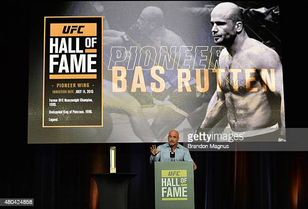 Bas Rutten gives his acceptance speech as he is inducted into the UFC Hall of Fame at the UFC Fan Expo in the Sands Expo and Convention Center on...