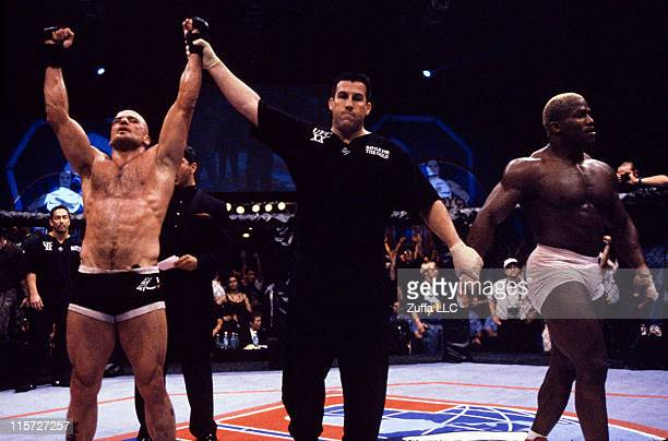 Bas Rutten wins a controversial decision over Kevin Randleman to capture the UFC Heavyweight Championship at the Boutwell Auditorium on May 7 1999 in...