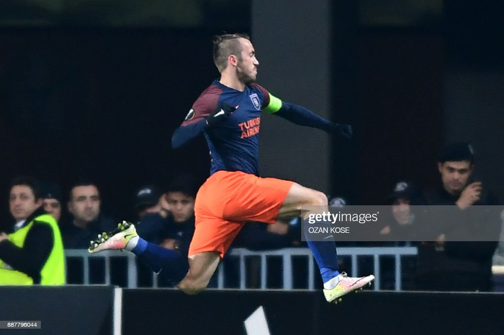 Basaksehir's Bosnian midfielder Edin Visca celebrates after scoring a goal during the UEFA Europa League Group C football match between Istanbul Basaksehir FK and SC Braga at the Fatih Terim Stadium in Istanbul, on December 7, 2017. /
