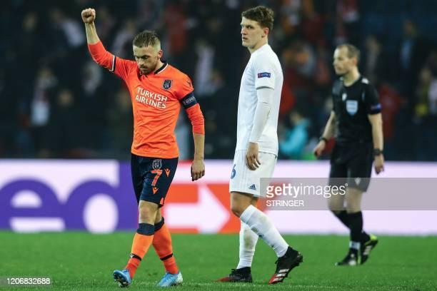 Basaksehir's Edin Visca celebrates after scoring a goal during the UEFA Europa league last 32 first leg football match between Basaksehir and FC...