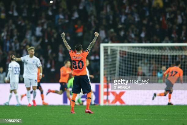 Basaksehir's players celebrate after Edin Visca scores a goal during the UEFA Europa league last 32 first leg football match between Basaksehir and...