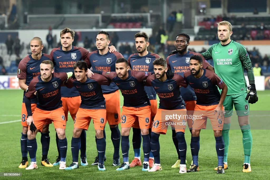 Basaksehir's players pose prior to the UEFA Europa League Group C football match between Istanbul Basaksehir FK and SC Braga at the Fatih Terim Stadium in Istanbul, on December 7, 2017. /