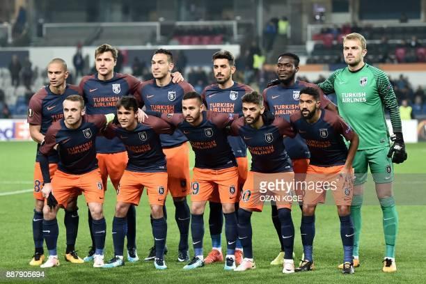 Basaksehir's players pose prior to the UEFA Europa League Group C football match between Istanbul Basaksehir FK and SC Braga at the Fatih Terim...