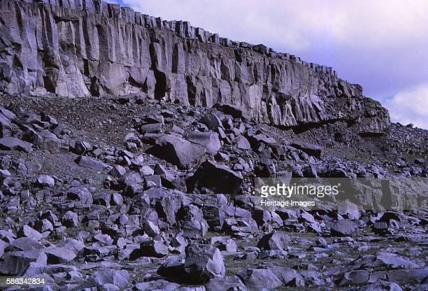 Basalt cliffs beside Dettifoss North Iceland 20th century Dettifoss is a waterfall in Vatnajokull National Park in Northeast Iceland and is one of...