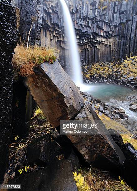 Basalt column and waterfall