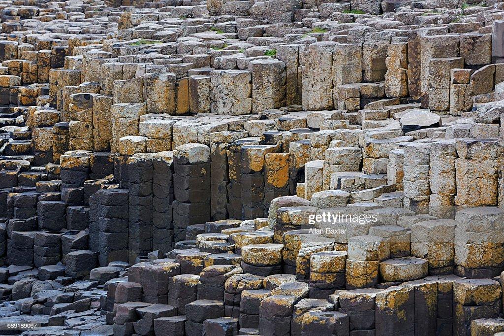 Basalt columns in Unesco's Giant Causeway : Stock Photo