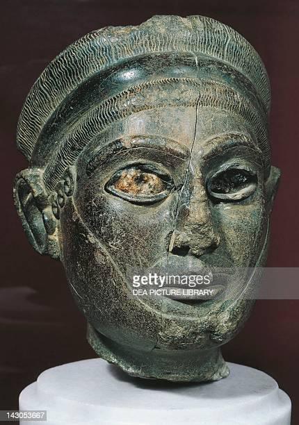 Basalt head of YarimLim King of Yamhad or Aleppo Artefact from the Palace of Alalakh or Tel Atchana Turkey Amorite civilisation 1785 BC Antakya Hatay...