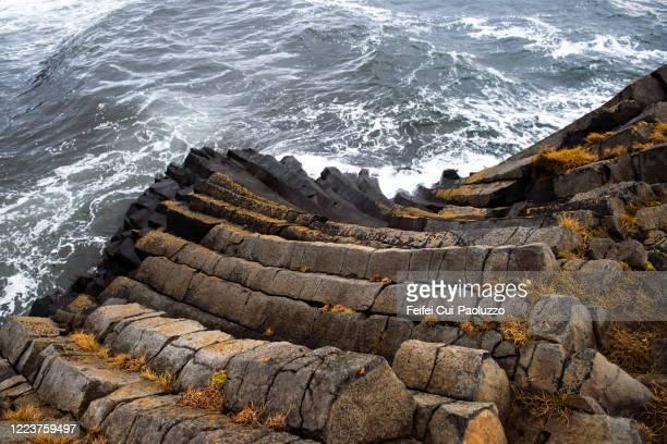 basalt rock at kálfshamarsvík, skagi, northern iceland - rocky coastline stock pictures, royalty-free photos & images
