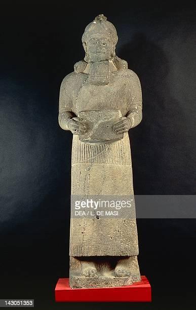 Basalt statue representing a deity artefact from Arslan Tash Syria Assyrian civilisation 745725 BC Aleppo Archaeological Museum