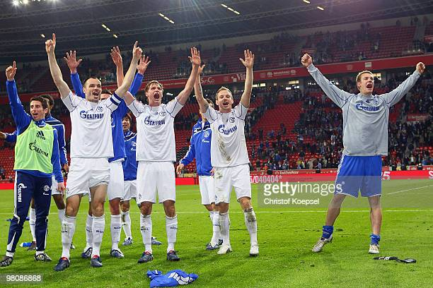 Basart Ibraimi Heiko Westermann Benedikt Hoewedes Ivan Rakitic and Manuel Neuer of Schalke celebrate the 20 victory after the Bundesliga match...