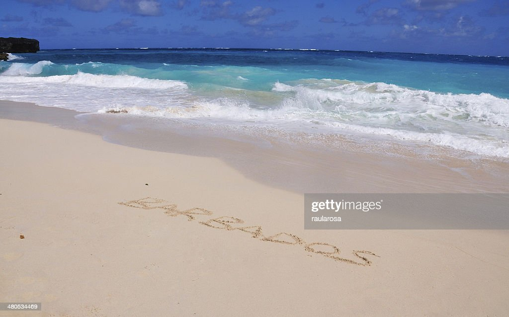 Basbados written on a beautiful beach : Stock Photo