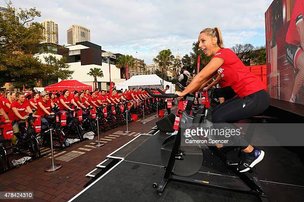 Base Body Babe Felicia Oreb encourages participants during a Medibank spin class on June 25 2015 in Sydney Australia Medibank Base Body Babes and...