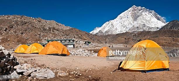 Base camp tents Himalaya peaks Nuptse Gorak Shep Nepal panorama