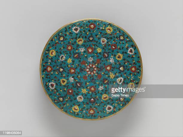 Base for a Mandala, Ming dynasty , 15th century, China, Cloisonne enamel, H. 3 in. ; Diam. 13 1/2 in. , Cloisonne, Ceremonial mandalas were used in...