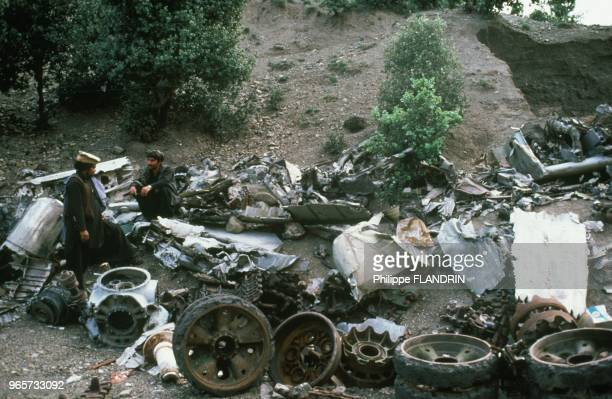 Base Jawer the remains of the helicopter and a MiG 21 shot down by flak from the base AL Zubair Paktia province on May 31 1985 in Afghanistan