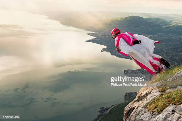 Base jumper and wing suit pioneer Geraldine Fasnacht is photographed for Paris Match on May 5 2015 in Switzerland
