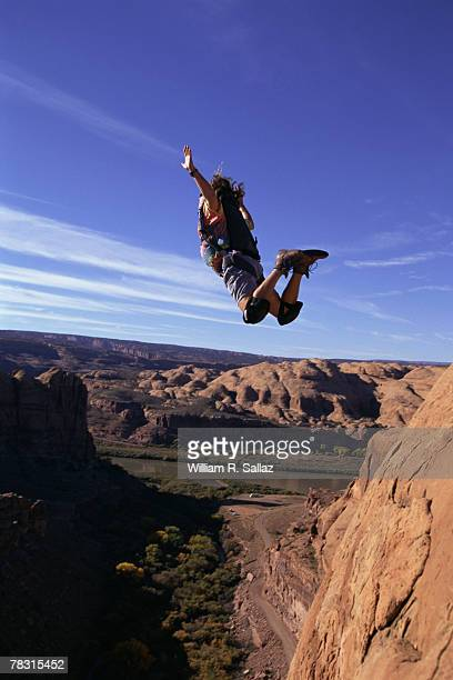 Base jumper in midair