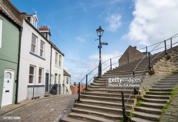 Base of the famous 199 steps at Whitby, North Yorkshire, England