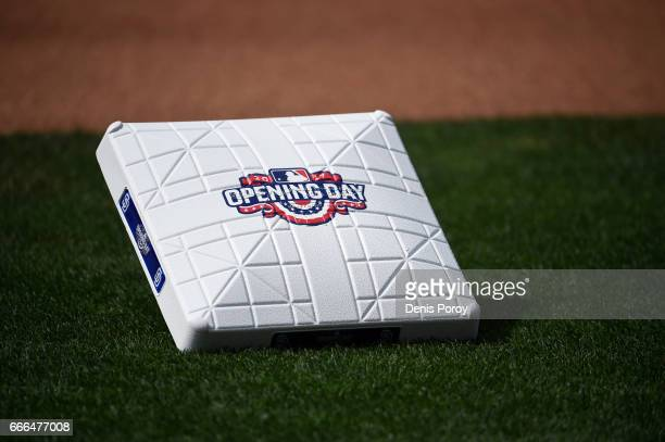 A base with the opening day logo sits on the field before a baseball game between the San Francisco Giants and the San Diego Padres on April 7 2017...