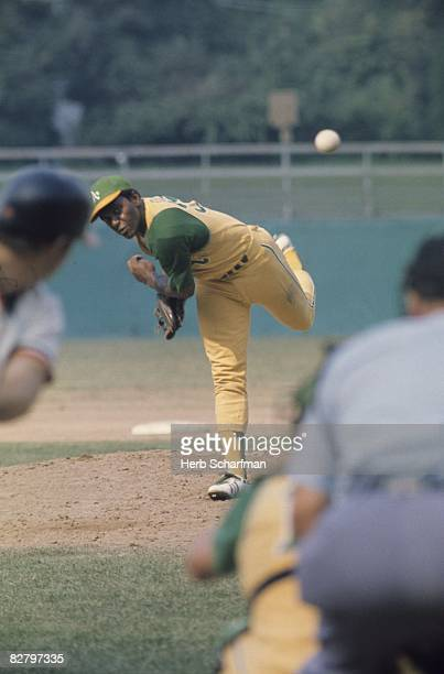 1971 ALCS Playoffs Oakland A's Vida Blue in action pitching vs Baltimore Orioles Game 1 Oakland CA 10/3/1971 CREDIT Herb Scharfman