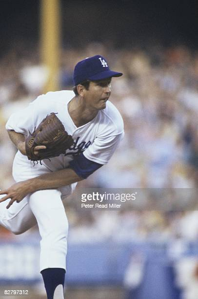 1977 NLCS Playoffs Los Angeles Dodgers Tommy John in action pitching vs Philadelphia Phillies Game 1 Los Angeles CA 10/5/1977 CREDIT Peter Read Miller