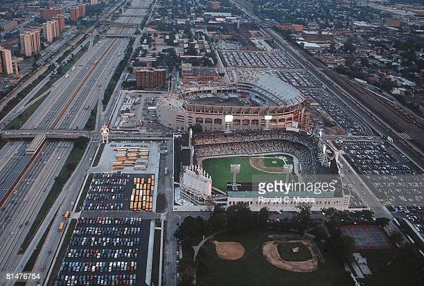 Baseball Aerial scenic view of old Comiskey Park and New Comiskey Park stadium during Chicago White Sox vs Oakland Athletics game Chicago IL 6/16/1990