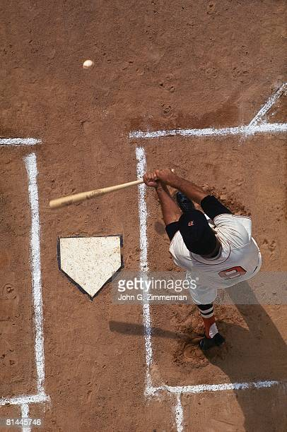 Baseball Aerial view of Boston Red Sox Ted Williams in action during spring training Ocala FL 4/10/1968