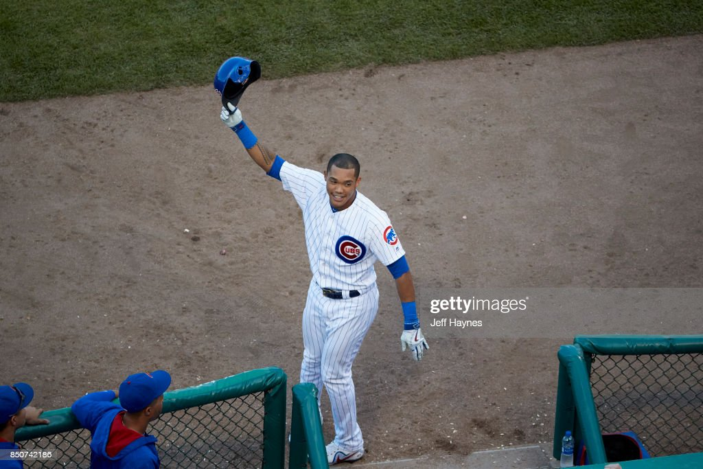 Aerial View Of Chicago Cubs Addison Russell (27) Victorious, Making Curtain  Call In