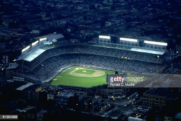 Baseball Aerial view of Chicago Cubs vs Philadelphia Phillies during first night game at Wrigley Field stadium Chicago IL 8/8/1988