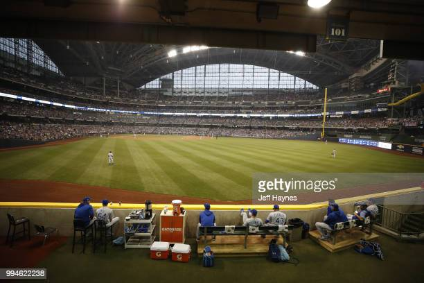 Aerial view of field at Miller Park before game between Milwaukee Brewers and Kansas City Royals Milwaukee WI CREDIT Jeff Haynes