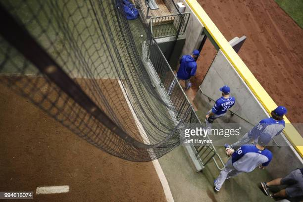 Aerial view of Kansas City Royals pitchers leaving bullpen before game vs Milwaukee Brewers at Miller Park Milwaukee WI CREDIT Jeff Haynes