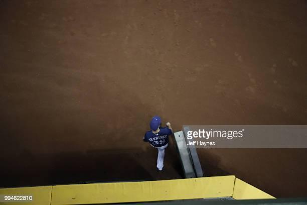 Aerial view of Milwaukee Brewers Dan Jennings walking on to field during game vs Kansas City Royals at Miller Park Milwaukee WI CREDIT Jeff Haynes