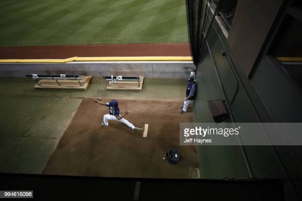 Aerial view of Milwaukee Brewers Freddy Peralta warming up in bullpen before game vs Kansas City Royals at Miller Park Milwaukee WI CREDIT Jeff Haynes