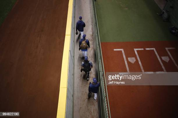 Aerial view of Milwaukee Brewers pitchers leaving bullpen before game vs Kansas City Royals at Miller Park Milwaukee WI CREDIT Jeff Haynes