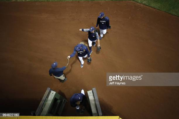 Aerial view of Milwaukee Brewers pitchers on field before game vs Kansas City Royals at Miller Park Milwaukee WI CREDIT Jeff Haynes