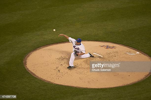 Aerial view of New York Mets Bartolo Colon in action pitching vs Milwaukee Brewers at Citi Field Flushing NY CREDIT Chuck Solomon
