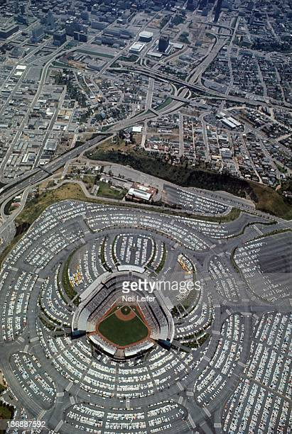 Baseball Aerial view of parking lots surrounding stadium during Los Angeles Dodgers vs San Francisco Giants game at Dodger Stadium Los Angeles CA...