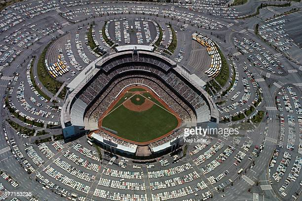 Aerial view of parking lots surrounding stadium during Los Angeles Dodgers vs San Francisco Giants game at Dodger Stadium Los Angeles CA CREDIT Neil...
