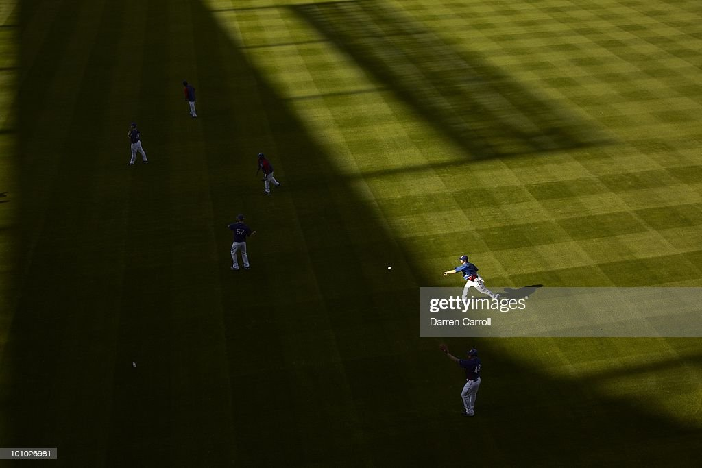 Aerial view of Texas Rangers pitchers warming up before game vs Detroit Tigers. Arlington,TX 4/23/2010