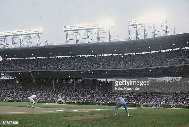 Aerial view of Wrigley Field during Chicago Cubs vs Philadelphia Phillies First night game in Wrigley Field history Chicago IL 8/8/1988 CREDIT Heinz...