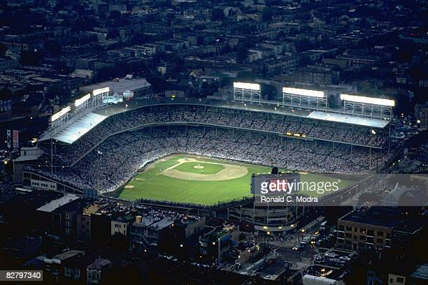 Aerial view of Wrigley Field from blimp during Chicago Cubs vs Philadelphia Phillies First night game in Wrigley Field history Chicago IL 8/8/1988...