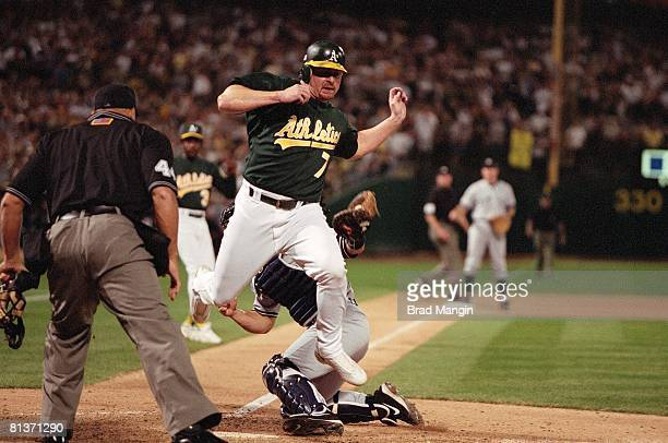 Baseball AL playoffs Oakland Athletics Jeremy Giambi in action vs New York Yankees Oakland CA