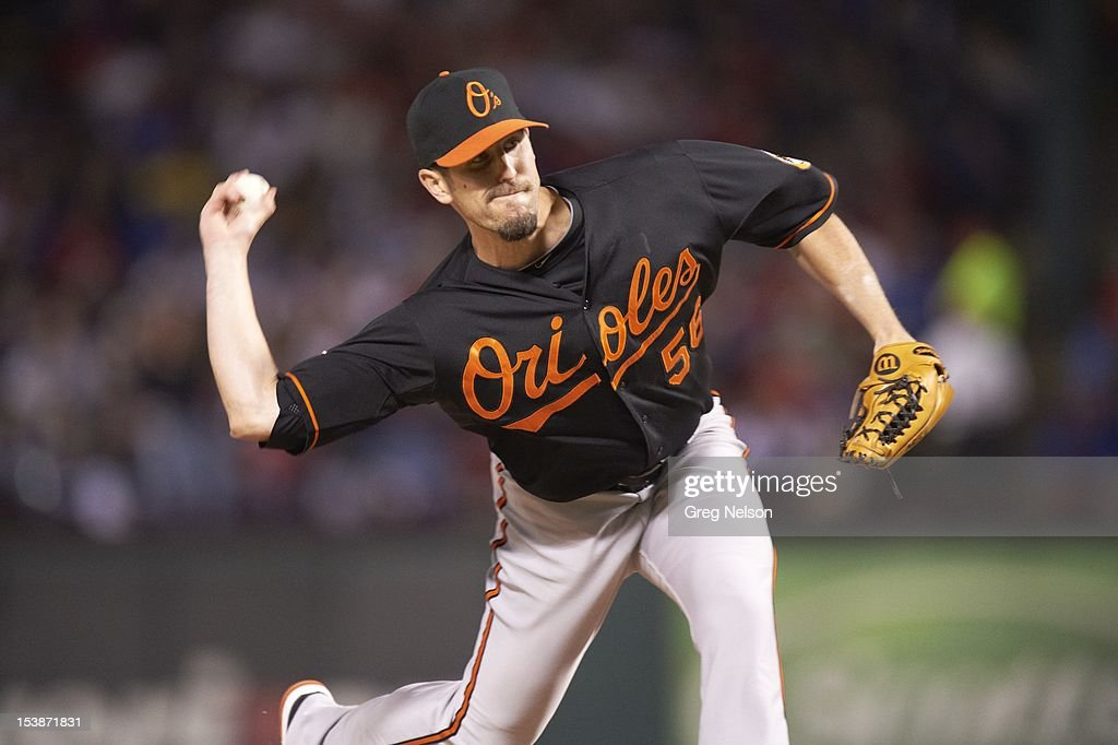 Baltimore Orioles Darren O'Day (56) in action, pitching vs Texas Rangers at Rangers Ballpark. Greg Nelson F269 )