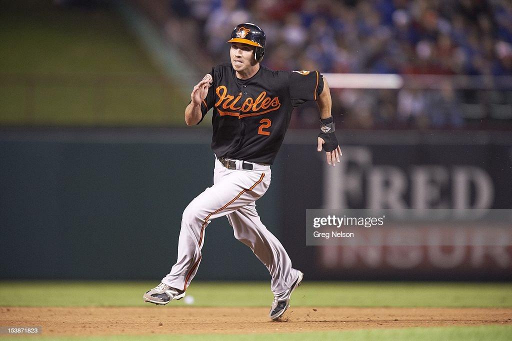 Baltimore Orioles J.J. Hardy (2) in action, running bases vs Texas Rangers at Rangers Ballpark. Greg Nelson F204 )