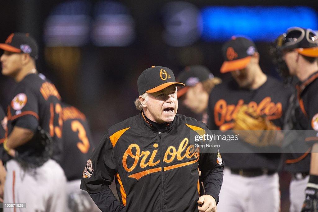 Baltimore Orioles manager Buck Showalter (26) during game vs Texas Rangers at Rangers Ballpark. Greg Nelson F261 )