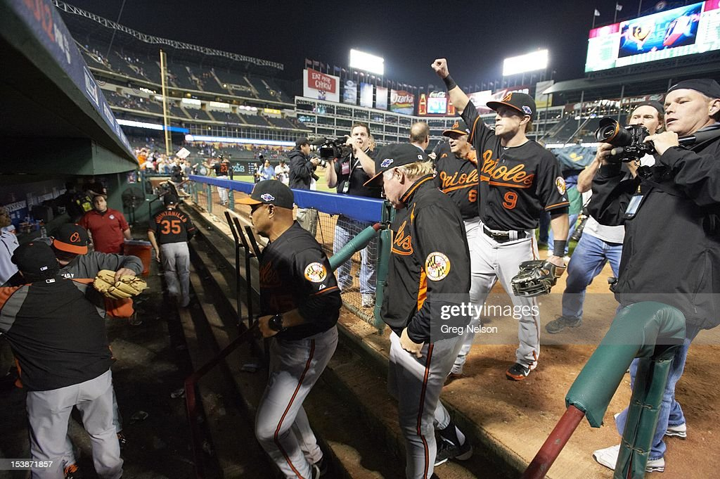Baltimore Orioles Nate McLouth (9) victorious after winning game vs Texas Rangers at Rangers Ballpark. Greg Nelson F108 )