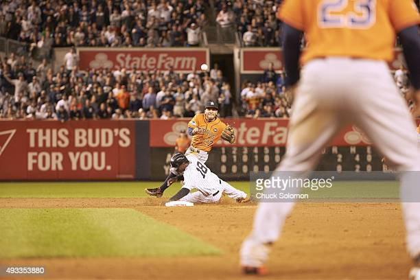 AL Wild Card Game Houston Astros Jose Altuve in action turning double play vs New York Yankees Didi Gregorius at Yankee Stadium Bronx NY CREDIT Chuck...