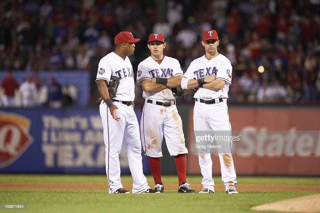Texas Rangers (L-R) Adrian Beltre (29), Ian Kinsler (5) and Michael Young (10) during game vs Baltimore Orioles at Rangers Ballpark. Greg Nelson F316 )