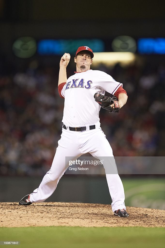 Texas Rangers Joe Nathan (36) in action, pitchng vs Baltimore Orioles at Rangers Ballpark. Greg Nelson F101 )