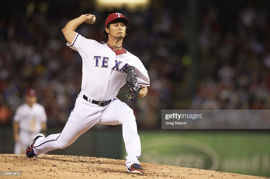 Texas Rangers Yu Darvish (11) in action, pitchng vs Baltimore Orioles at Rangers Ballpark. Greg Nelson F184 )